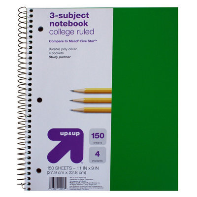up & up 3-Subject College Ruled Notebook, Black - 120 sheets