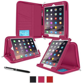 iPad Air 2 Case - roocase Executive Portfolio iPad Air 2 2014 Genuine Leather Case Cover with Stylus for Apple iPad Air 2 (2014) 6th Generation Latest Model, Magenta