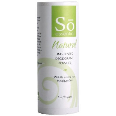 So Essential Natural Unscented Deodorant Powder, 3-Ounce Shaker