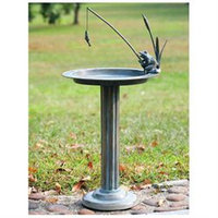 SPI Home 33302 Fishing Frog Sundial Bird Bath