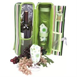 Picnic Gift 2625-GS Solana Wine Cooler Tote - Green Stripe