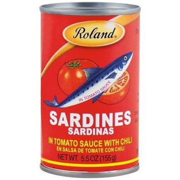Roland Sardines in Tomato Sauce with Chili, 5.5-Ounce Cans (Pack of 50)