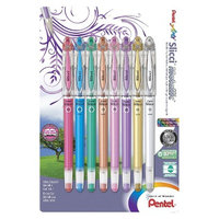Alvin BG208BP8M 0.8mm Pentel Slicci Metallic Assorted Gel Pen Pack of 8