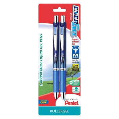 Pentel Energel Deluxe Medium Blue Retractable Liquid Gel Pens 2-ct.