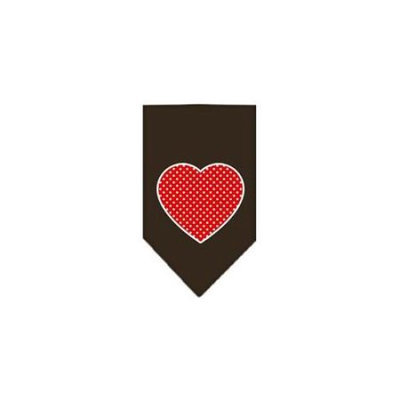 Ahi Red Swiss Dot Heart Screen Print Bandana Cocoa Small