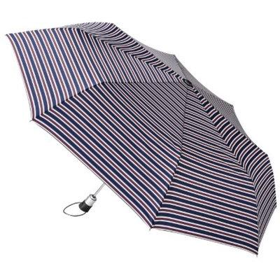 Totes totes Family Jumbo Automatic Umbrella - Red/Blue Nautical Stripe