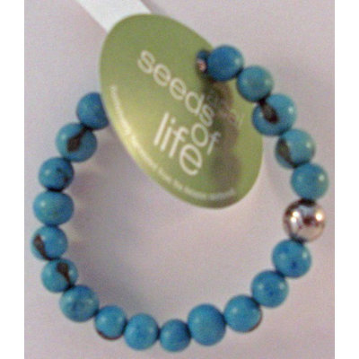 Whitney Howard Designs Seeds of Life Bracelet w Antique Silver World Bead Turquoise Whitney Howard Desi