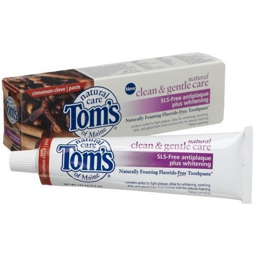 Toms Of Maine Tom's of Maine Natural Clean and Gentle SLS-Free Anticavity plus Whitening Cinnamon Clove Toothpaste, 5.2 -Ounce Tubes (Pack of 6)