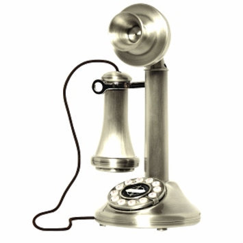 Crosley Radio 1920's Candlestick Phone, Brushed Chrome, 1 ea