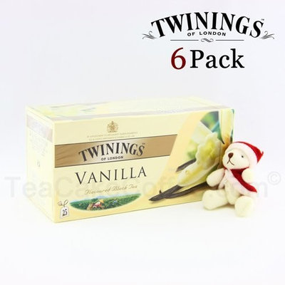 Aone Flower/Fruit/Herbal Tea Twinings Black Tea Vanilla Tea / 25 Tea Bags / 50g / 1.8oz. (6 Packs) Holiday Bonus Pack - includes a free Santa bear