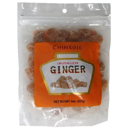 ChinRose Crystallized Ginger, 8-Ounce Bags (Pack of 6)