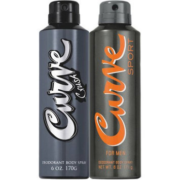 Curve for Men Deodorant Body Spray Gift Set, 6 oz, 2 count
