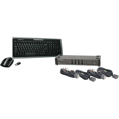 IOGEAR Iogear 4 Port DVI KVMP with cables and wireless keyboard / mouse combo