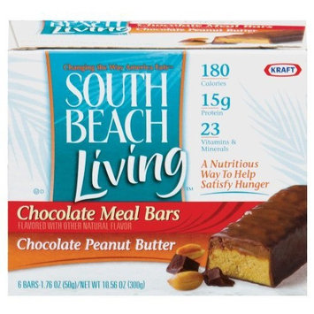 South Beach Diet South Beach Living Chocolate Meal Replacement Bar, Chocolate Peanut Butter Bars, 6-Count, 1.76-Ounce (Pack of 2)