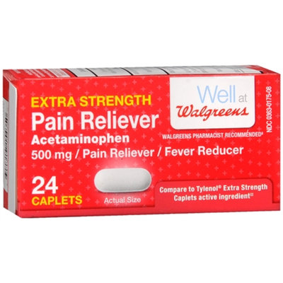 Walgreens Pain Reliever Extra Strength Caplets, 24 ea