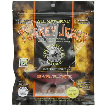 Golden Valley Natural Turkey Jerky, Bar-B-Que, 3.25-Ounce Pouches (Pack of 8)