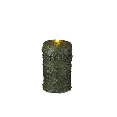 Delighted Home MC-W6G Hand-Waxed Battery-Operated 6 in. Green MC Pillar Candle