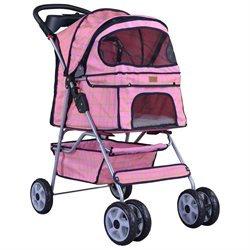 Bestpet Pink Grid 4 Wheels Pet Dog Cat Stroller W/raincover