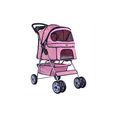 Bestpet Pink Grid 4 Wheels Pet Dog Cat Stroller W/raincover