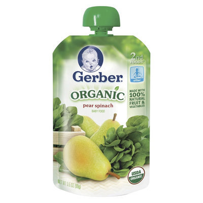 Gerber Organic 2nd Foods Pear Spinach Baby Food 3.5 oz