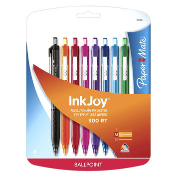 Rubbermaid Paper Mate Inkjoy 300RT Retractable Ballpoint Pen, 1mm, 8ct - Multicolor, Multi-Colored