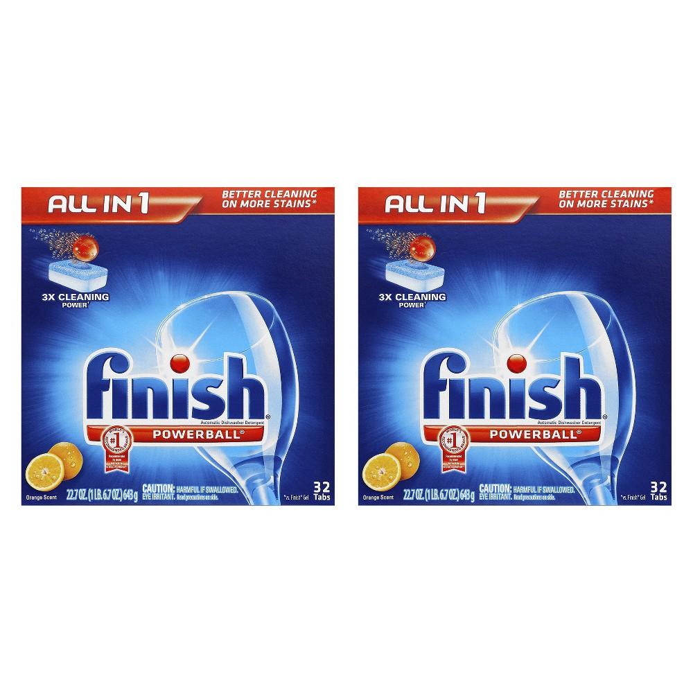 Finish Jet Dry Finish Powerball - Orange, 32 Count, 2 Pack