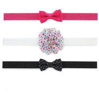 Child of Mine by Carter's Newborn Baby Girl Plume Bow Headwraps, 3 Pack