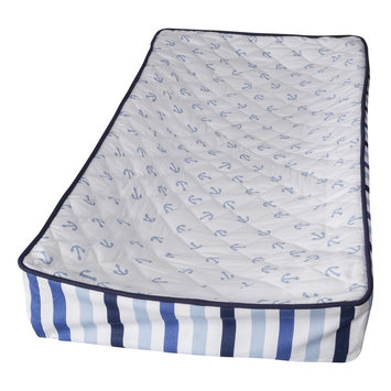 Bacati Little Sailor Changing Pad Cover (Blue/White)
