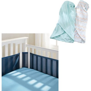 Breathable Baby Elephant 2-pk. Swaddle Blankets - Baby Boy (Aqua Chevron)