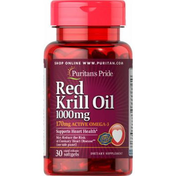 Puritan's Pride Red Krill Oil 1000 mg (170 mg Active Omega-3)-30 Softgels