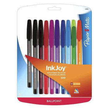Rubbermaid Paper Mate Inkjoy 100ST Ballpoint Pen, 1mm, 18ct - Multicolor, Multi-Colored