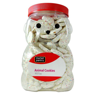 Stauffer Biscuit Company Market Pantry Frosted White Fudge Animal Cookie Jug 44 oz