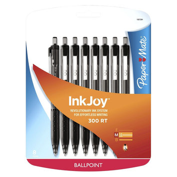 Rubbermaid Paper Mate Inkjoy 300RT Retractable Ballpoint Pen, 1mm, 8ct - Black