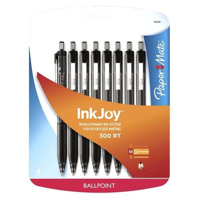Rubbermaid Paper Mate Inkjoy 300RT Retractable Ballpoint Pen, 1mm, 8ct - Black