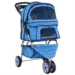 BestPet Classic 3 Wheel Blue Grid Pet Stroller