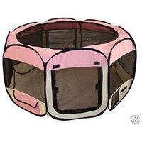 Bestpet Pink Pet Dog Cat Tent Puppy Playpen Exercise Pen Crate