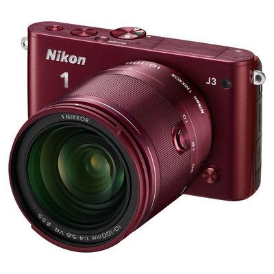 Nikon J3 Interchangable Lens Digital Camera, 14.2MP, Red with 10