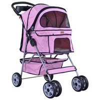 BestPet Classic 4 Wheel Pink Pet Stroller