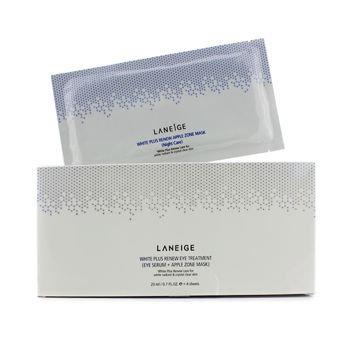 Laneige White Plus Renew Eye Treatment: Eye Serum 20ml/0.7oz + Apple Zone Mask 4sheets 2pcs