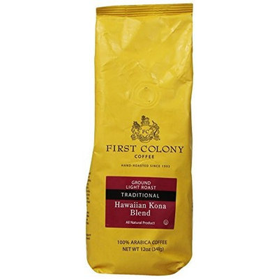 First Colony Ground Coffee, Hawaii Kona Blend, 12-Ounce Bag