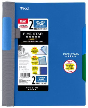 Five Star(R) Advance(R) Notebook, 6in. x 9 1/2in, 2 Subjects, College Ruled, 100 Sheets