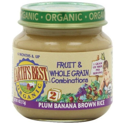 Earth's Best Organic Stage 2, Plum, Banana & Brown Rice, 4 Ounce (Pack of 12)