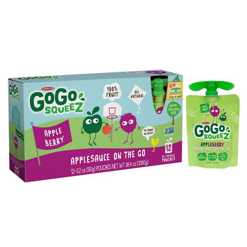 GoGo squeeZ Applesauce On The Go Apple Berry Pouches 3.2 oz 12 ct