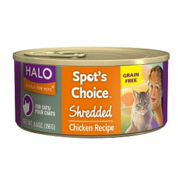 Halo, Purely For Pets Spot's Choice for Cats Grain-free Formula, Shredded Chicken Recipe, 5.5 oz