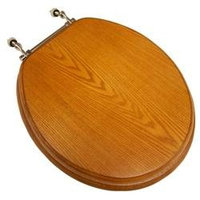 Comfort Seats Decorative Finish Round Front Wood Toilet Seat