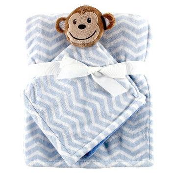 Hudson Baby Baby Plush Blanket & Security Blanket with Gift Ribbon - Blue Monkey
