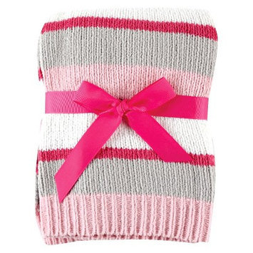Hudson Baby Baby Chenille Stripe Baby Blanket with Gift Ribbon- Pink