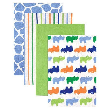 Luvable Friends 4pk Flannel Receiving Blankets with Gift Ribbon