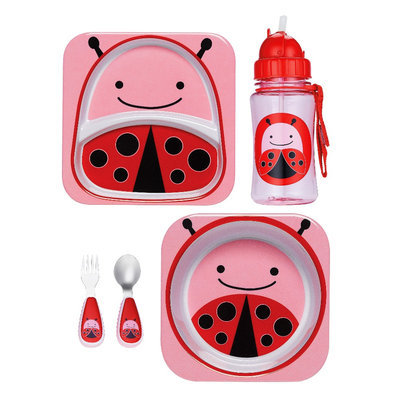 Skip Hop Zoo Plate, Bowl, Straw Bottle and Utensil Set Bundle - Ladybug by