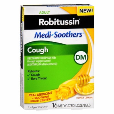 Robitussin DM MediSoothers Cough Medicated Lozenges, Honey Lemon, 16 ea